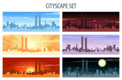 Cityscape Set. Abstract city scape scene set. Daylight, twilight, midnight, evening, sunset and sunrise view Royalty Free Stock Photo
