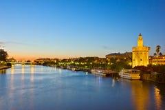 Cityscape of Sevilla at night, Spain stock photo