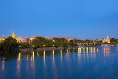 Cityscape of Sevilla at night, Spain Royalty Free Stock Images
