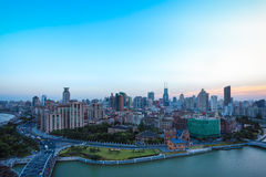 Cityscape of shanghai bund at dusk Stock Photo