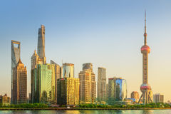 Cityscape of Shanghai and Huangpu River on sunset, beautiful reflection on skyscrapers, China Royalty Free Stock Photos