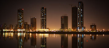 Cityscape of Sharjah. Khalid lagoon. Cityscape of Sharjah, United Arab Emirates Stock Photos