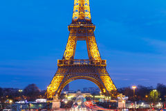 Shimmering Eiffel Tower at night in Paris Stock Image