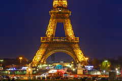 Shimmering Eiffel Tower at night in Paris Stock Photos