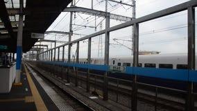 Cityscape and  Shinkansen Japanese Bullet Train from Shinjuku in Tokyo go to Narita international airport. SAITAMA, JAPAN - OCTOBER 19 : Cityscape and stock video