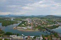 Cityscape of Shkoder, Albania stock image