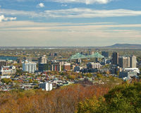Montreal Cityscape. This cityscape showing a section of Montreal with fall colors includes the Jacques Cartier Bridge Royalty Free Stock Photography