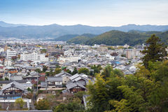 Cityscape of Shugakuin area in north Kyoto city seen from hilltop of Enkoji Temple, during autumn in Japan.  Royalty Free Stock Photography