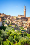 Cityscape of Siena, aerial view with the Torre del Mangia, Tuscany Italy Stock Image
