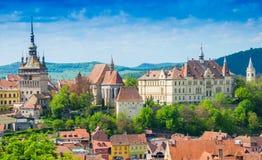 Cityscape Sighisoara, Roemenië Stock Foto