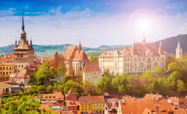 Cityscape Sighisoara, Romania. Panoramic view over the cityscape architecture in Sighisoara town, historical region of Transylvania, Romania Royalty Free Stock Images