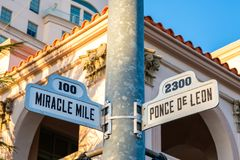 Coral Gables Cityscape. Cityscape sign view of the popular Miracle Mile in downtown Coral Gables, Florida stock images