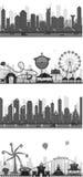 Cityscape Silhouet Royalty-vrije Stock Afbeeldingen