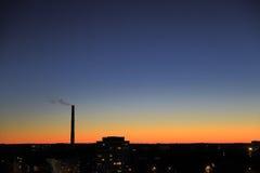 Cityscape silhouetten Stock Afbeeldingen