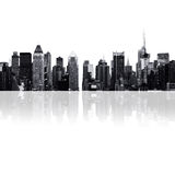 Cityscape - silhouetten van wolkenkrabbers Stock Foto