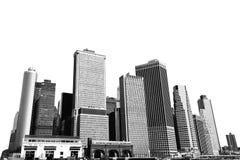Cityscape - silhouettes av skyskrapor Arkivbilder