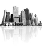 Cityscape - silhouettes av skyskrapor Arkivfoto