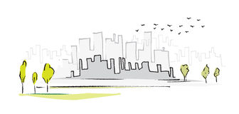 Cityscape, simple symbolic drawing Royalty Free Stock Photo