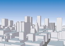 Cityscape simplistic city panorama of towers and skyscrapers vec. Cityscape. Simplistic city with buildings over the sky. Aerial view of wireframe urban Stock Photography