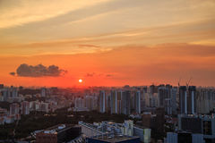 Cityscape of Singapore city at sunset Royalty Free Stock Photos