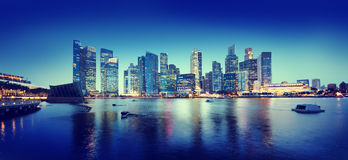 Cityscape Singapore Panoramic Night Concepts Royalty Free Stock Photo