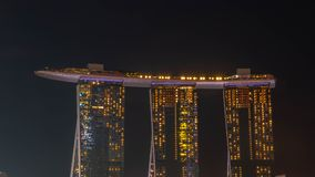 Cityscape of Singapore skyline at twilight time. Marina Bay is a bay located in the Central Area of Singapore. SINGAPORE, DECEMBER 22 2017 : Cityscape of Stock Image