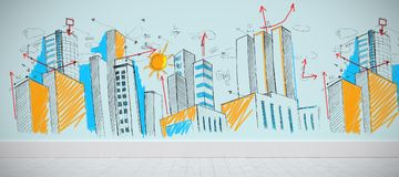 Composite image of cityscape sketch Royalty Free Stock Photography