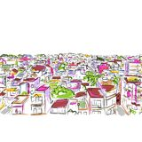 Cityscape sketch, seamless pattern for your design Stock Images