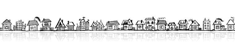 Cityscape sketch, seamless wallpaper Royalty Free Stock Photo