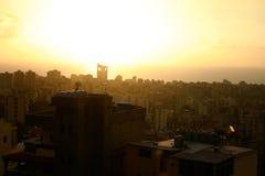Cityscape Skyline. City scape skyline of Kaslik, Lebanon at sunset royalty free stock images