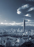Cityscape of skyline with clouds in Taipei Stock Photo