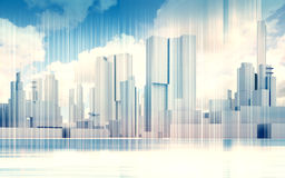 Cityscape skyline, dramatic sky, wire frame 3d. Abstract contemporary city background. Cityscape skyline, dramatic sky and wire frame lines pattern layer. Blue Stock Photos