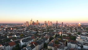 Cityscape and skyline of Frankfurt, Germany at dawn stock video