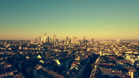 Cityscape and skyline of Frankfurt, Germany at dawn stock video footage