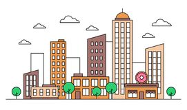 Cityscape skyline landscape design concept with buildings, donut shop cafe, scyscrapers, trees, clouds. Vector, graphic illustration. Editable stroke stock illustration