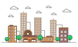 Cityscape skyline landscape design facade with buildings, donut shop cafe, scyscrapers, trees, clouds. Vector vector illustration