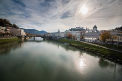 Cityscape Skyline Salzburg and panoramic view of the fortress Hohensalzburg stock photos