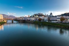 Cityscape Skyline of Salzburg with a view of the fortress Hohensalzburg royalty free stock photography