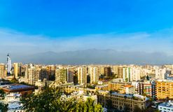 Panoramic cityscape of Santiago de Chile stock images