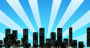 Cityscape Skyline with Sun Rays Overshadowing Buil Stock Photo
