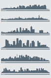 Cityscape Skyline Vector 2. A vector illustration of several cities' skylines including: New York, Hong Kong, Atlanta, Houston, Sydney and Seoul Stock Photo