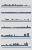Cityscape Skyline Vector 3. A  illustration of several cities' skylines including: New York, Boston, Miami, Detroit, Milwaukee and Paris Stock Photos