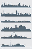 Cityscape Skyline Vector. A vector illustration of several cities' skylines including: Chicago, Kuala Lumpur, Seattle, Singapore, St. Louis, and Toronto Stock Images