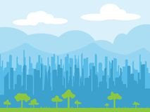 Cityscape skyline vector illustration. Cityscape skyline flat design background, simple background, vector illustration Stock Image