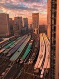 Tokyo skyline with high speed, Shinkansen, trains in foreground. stock image