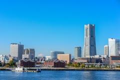 Cityscape skyline of Yokohama city against blue sky. royalty free stock images