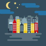 Cityscape with Skyscarpers and Half Moon at Night Royalty Free Stock Photography
