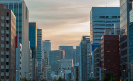 Cityscape and skyscraper at dusk in sakae,nagoya, japan. Royalty Free Stock Images