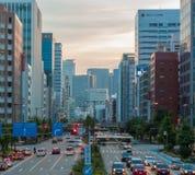 Cityscape and skyscraper at dusk in sakae,nagoya, japan. Royalty Free Stock Photos