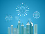 Cityscape, Skyscrapers with celebration fireworks background. Stock Images